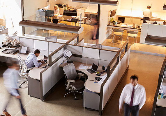 Picture of an aerial view of office cubicles